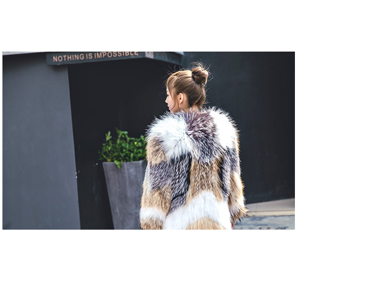 Knitted Raccoon Fur Fox Fur Jacket 930 Details 2