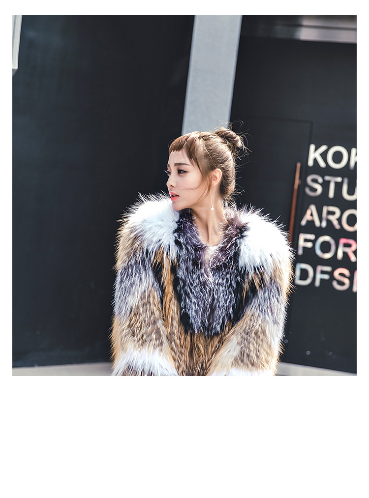 Knitted Raccoon Fur Fox Fur Jacket 930 Details 5
