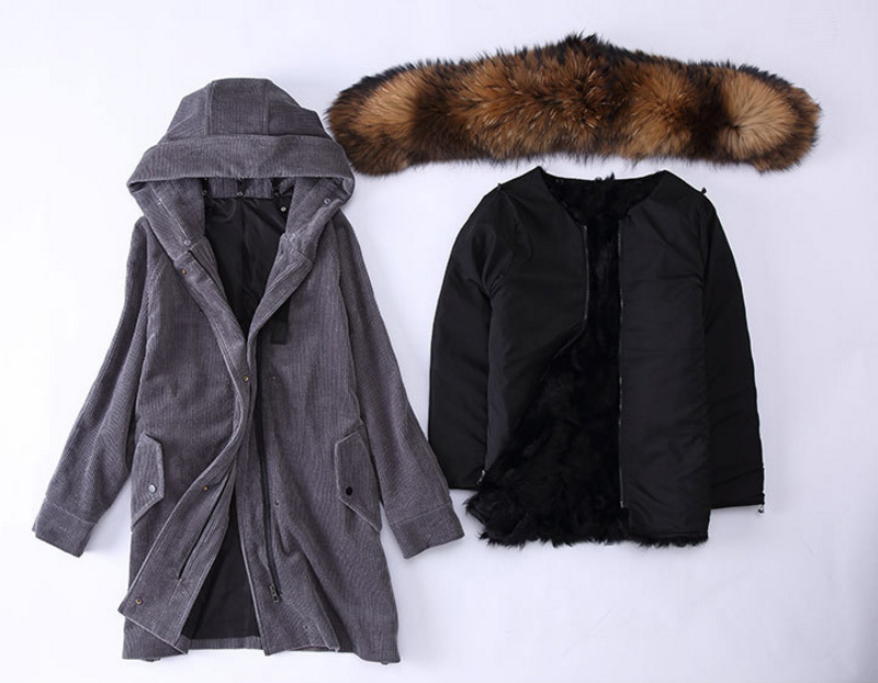 Raccoon Fur Trimmed Hooded Parka with Detachable Sheep Fur Liner 933 Details 1