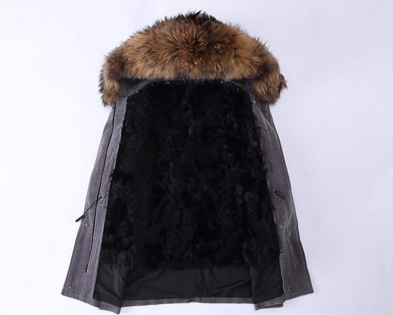 Raccoon Fur Trimmed Hooded Parka with Detachable Sheep Fur Liner 933 Details 2