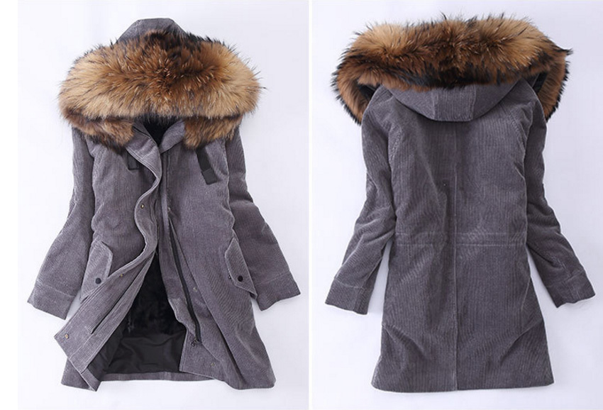 Raccoon Fur Trimmed Hooded Parka with Detachable Sheep Fur Liner 933 Details 3