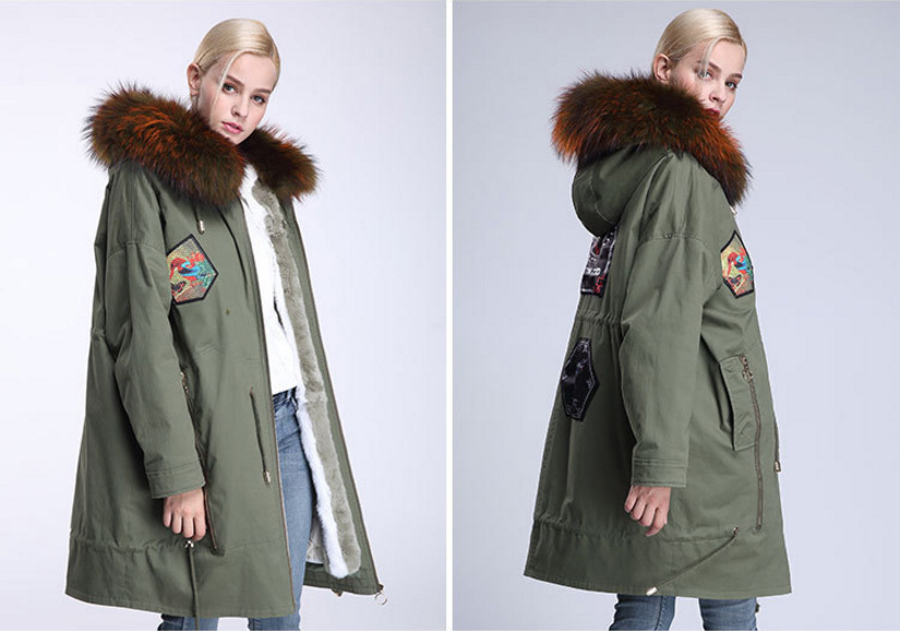 Raccoon Fur Trimmed Hooded Parka with Detachable Down-filled Liner 934 Details 10