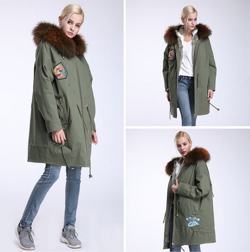 Raccoon Fur Trimmed Hooded Parka with Detachable Down-filled Liner 934 Details 11