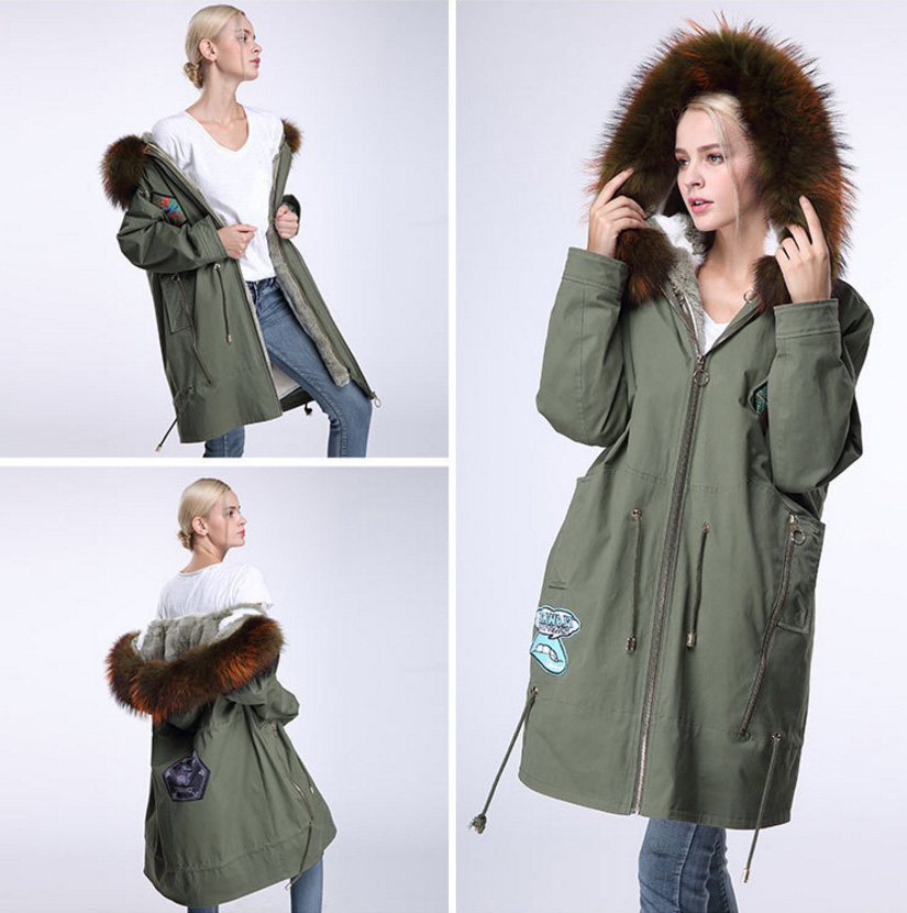Raccoon Fur Trimmed Hooded Parka with Detachable Down-filled Liner 934 Details 12