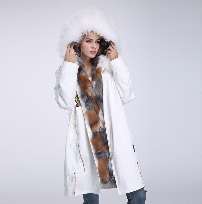Raccoon Fur Trimmed Hooded Parka with Detachable Down-filled Liner 934 Details 13