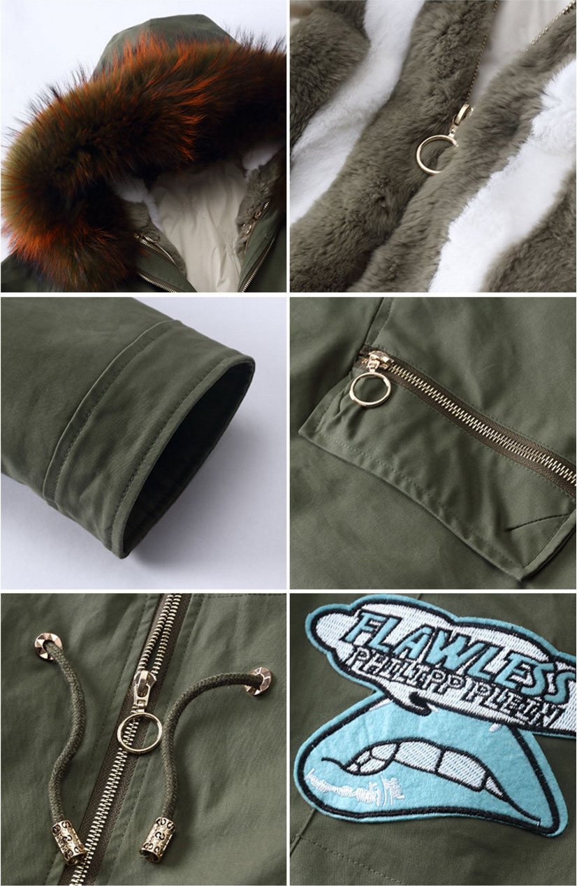Raccoon Fur Trimmed Hooded Parka with Detachable Down-filled Liner 934 Details 4