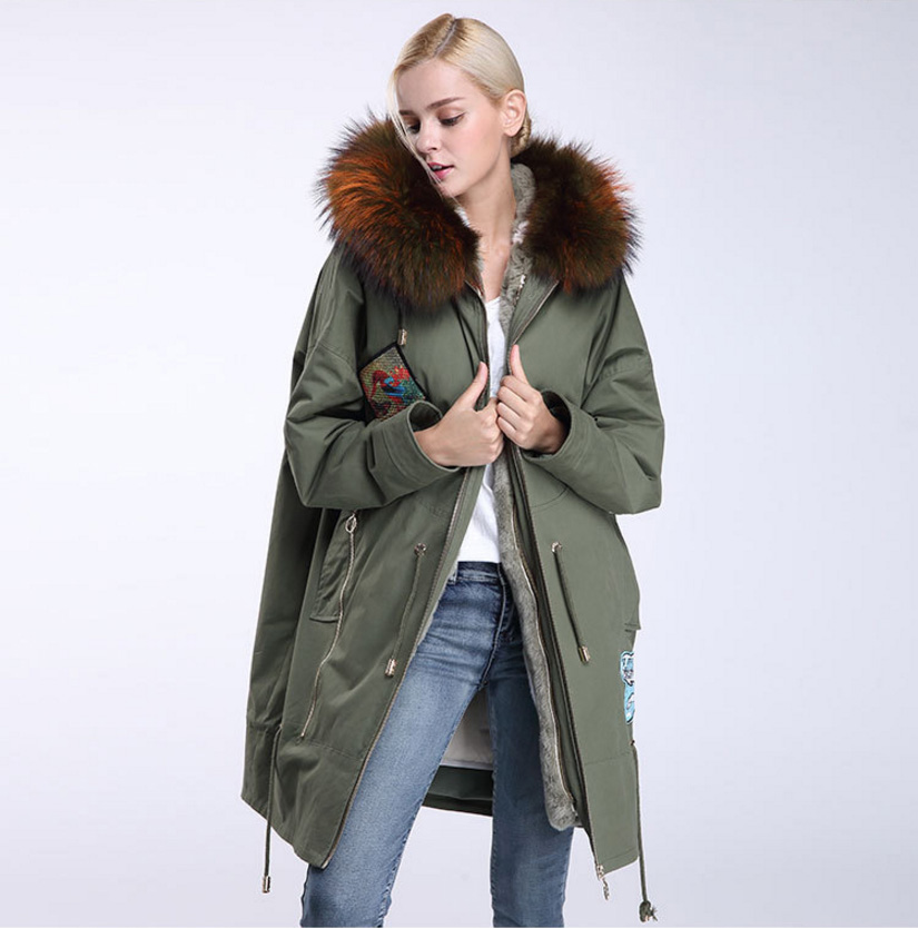 Raccoon Fur Trimmed Hooded Parka with Detachable Down-filled Liner 934 Details 9