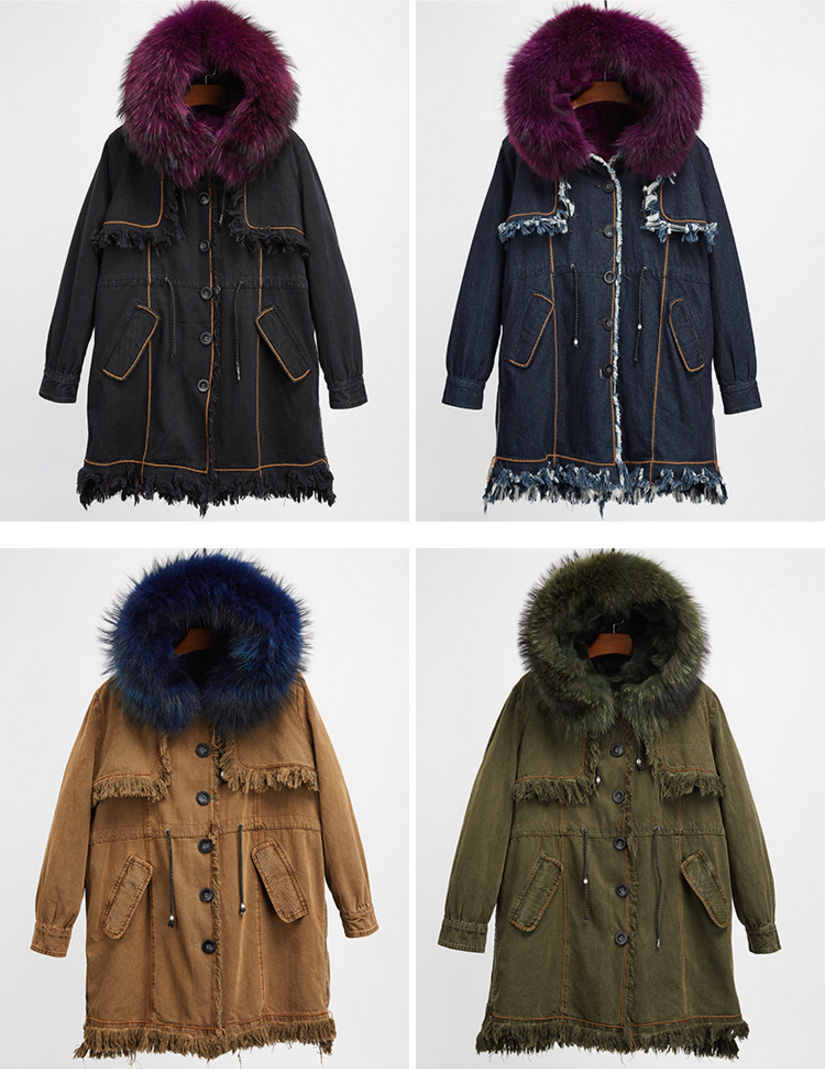 Raccoon Fur Trimmed Hooded Parka with Detachable Fox Fur Liner 935 Details 1