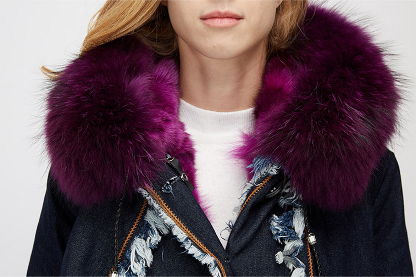 Raccoon Fur Trimmed Hooded Parka with Detachable Fox Fur Liner 935 Details 3