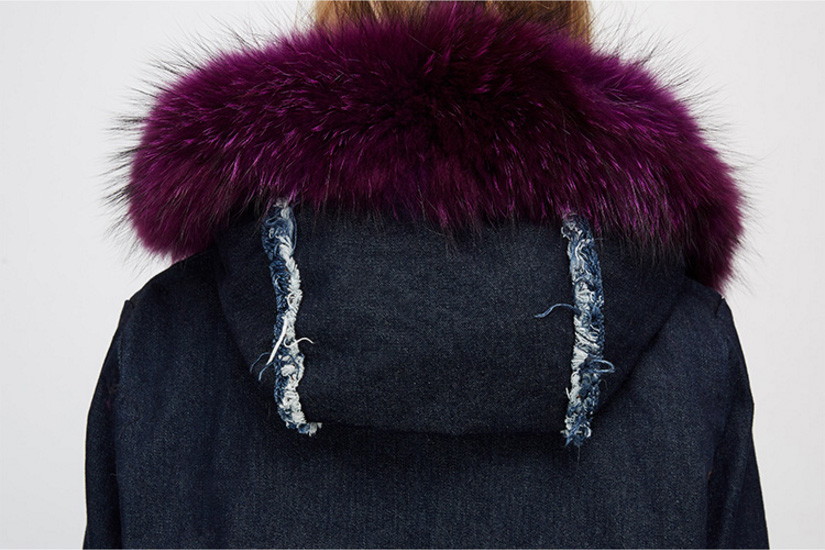 Raccoon Fur Trimmed Hooded Parka with Detachable Fox Fur Liner 935 Details 4
