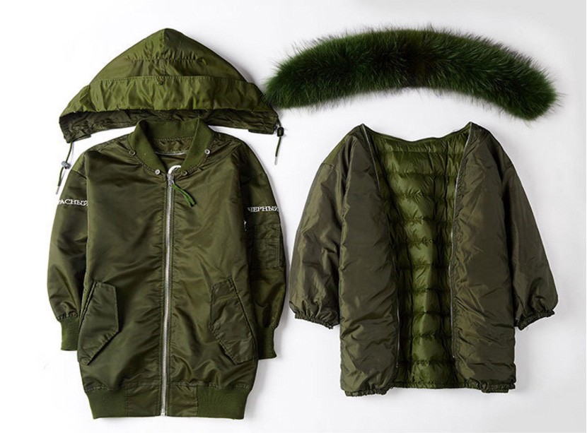 Raccoon Fur Trimming Hooded Parka with Detachable Down-filled Liner 936 Details 1