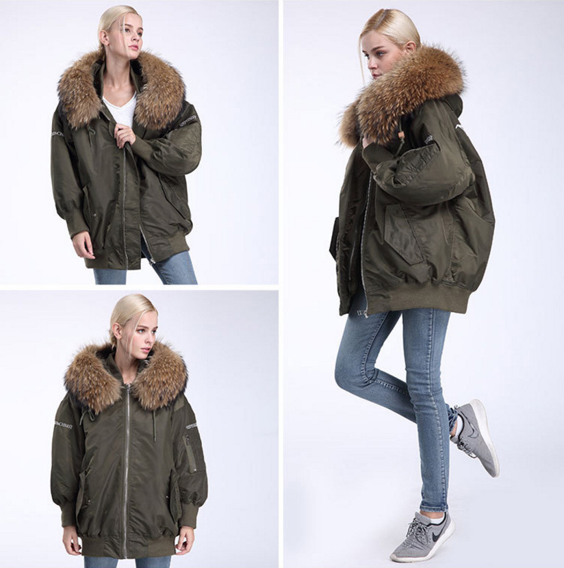 Raccoon Fur Trimming Hooded Parka with Detachable Down-filled Liner 936 Details 10