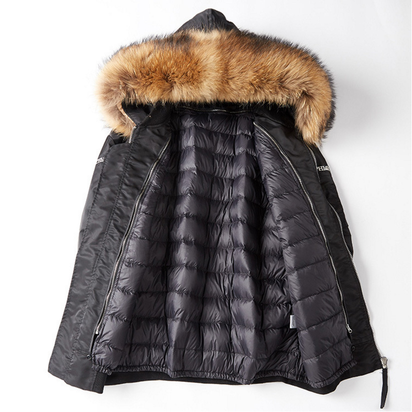 Raccoon Fur Trimming Hooded Parka with Detachable Down-filled Liner 936 Details 12