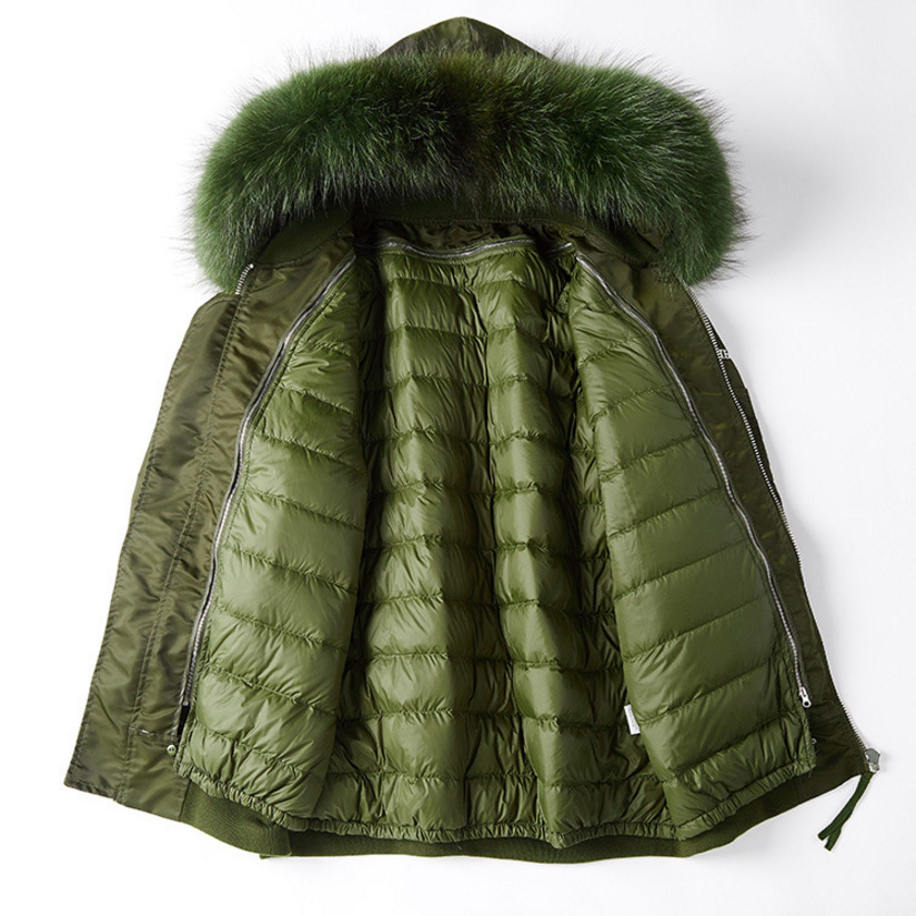 Raccoon Fur Trimming Hooded Parka with Detachable Down-filled Liner 936 Details 15