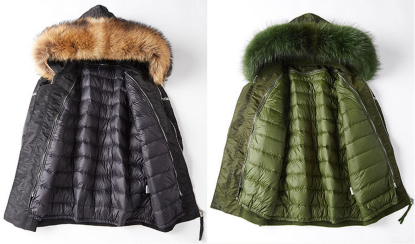 Raccoon Fur Trimming Hooded Parka with Detachable Down-filled Liner 936 Details 4