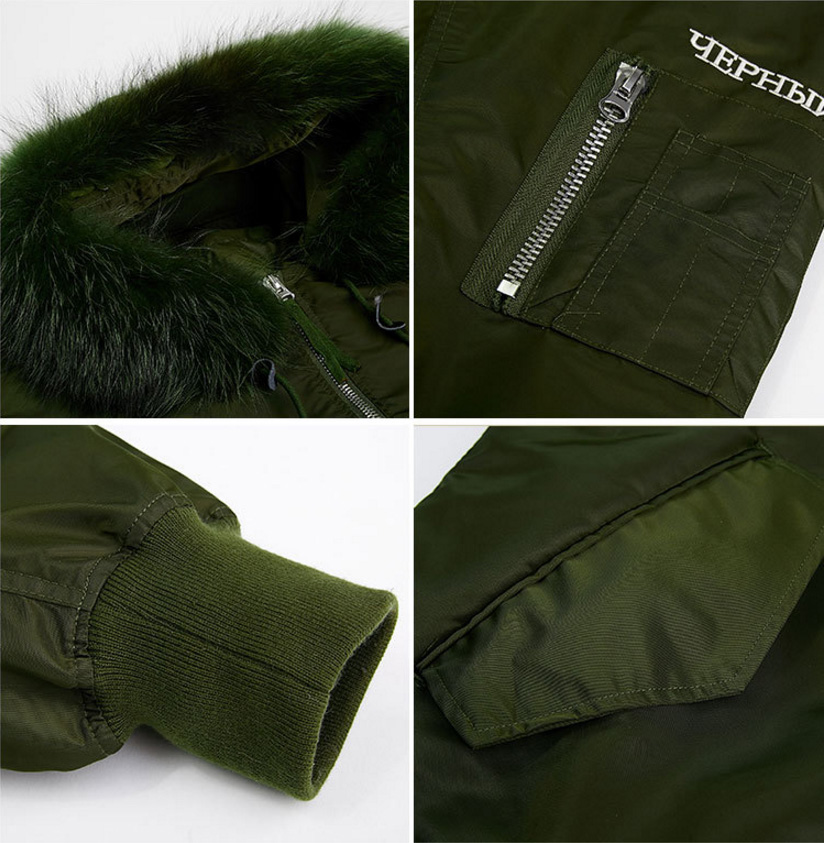 Raccoon Fur Trimming Hooded Parka with Detachable Down-filled Liner 936 Details 5