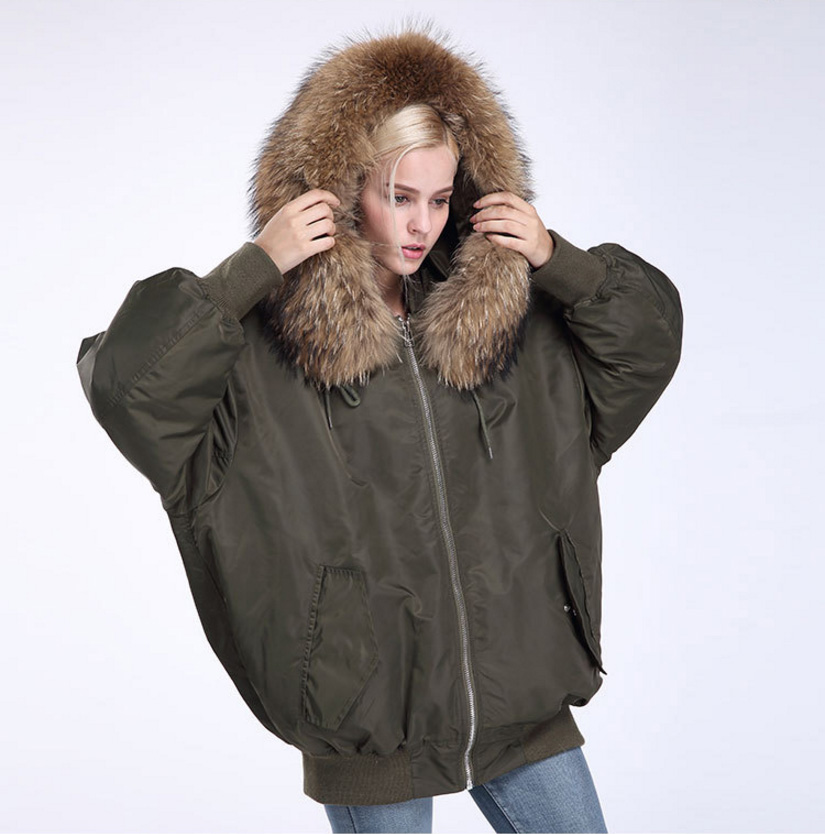 Raccoon Fur Trimming Hooded Parka with Detachable Down-filled Liner 936 Details 7