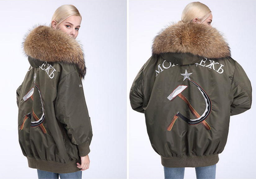 Raccoon Fur Trimming Hooded Parka with Detachable Down-filled Liner 936 Details 8