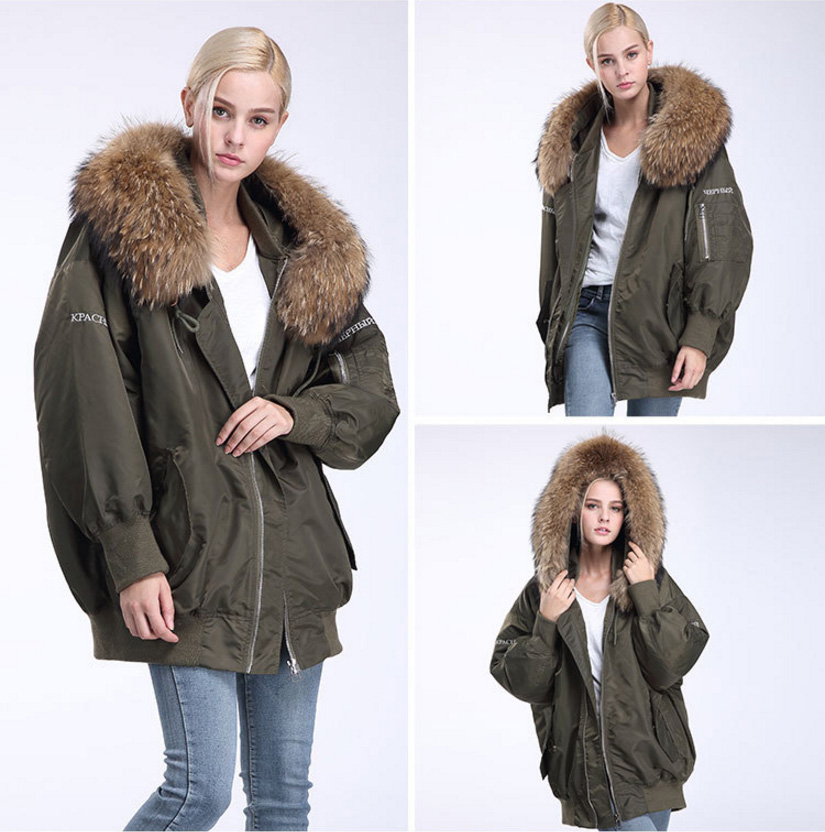 Raccoon Fur Trimming Hooded Parka with Detachable Down-filled Liner 936 Details 9