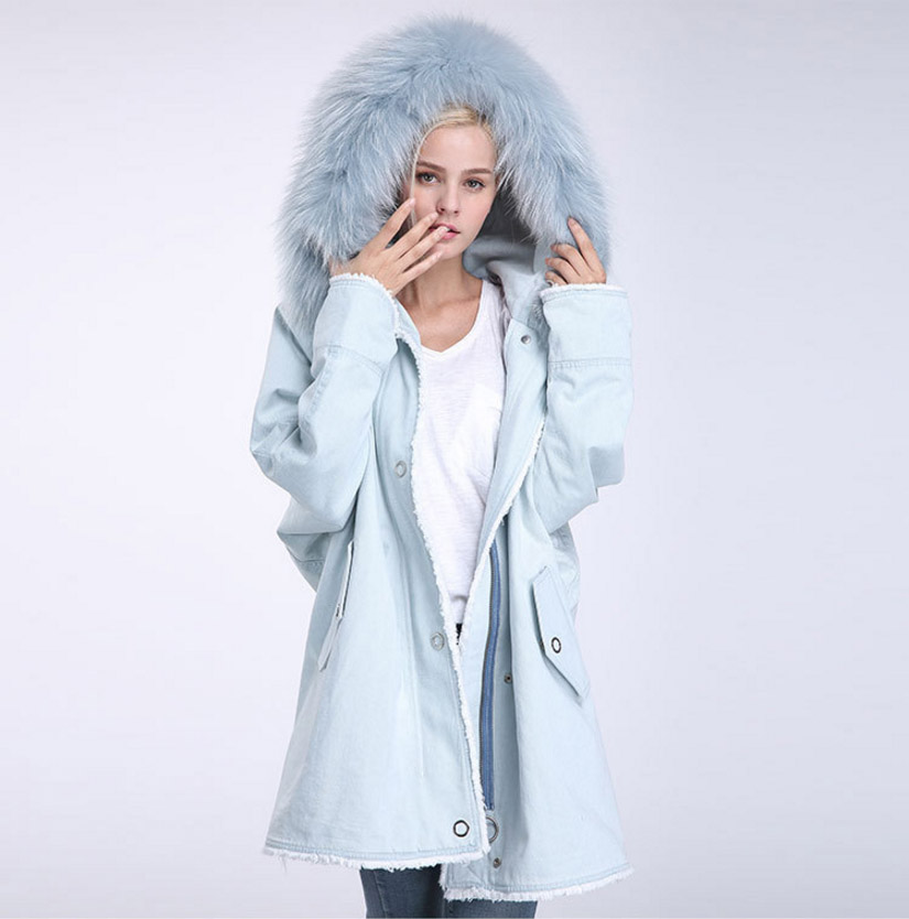 Fox Fur Trimming Hooded Parka with Detachable Rex Rabbit Fur Liner 937 Details 10