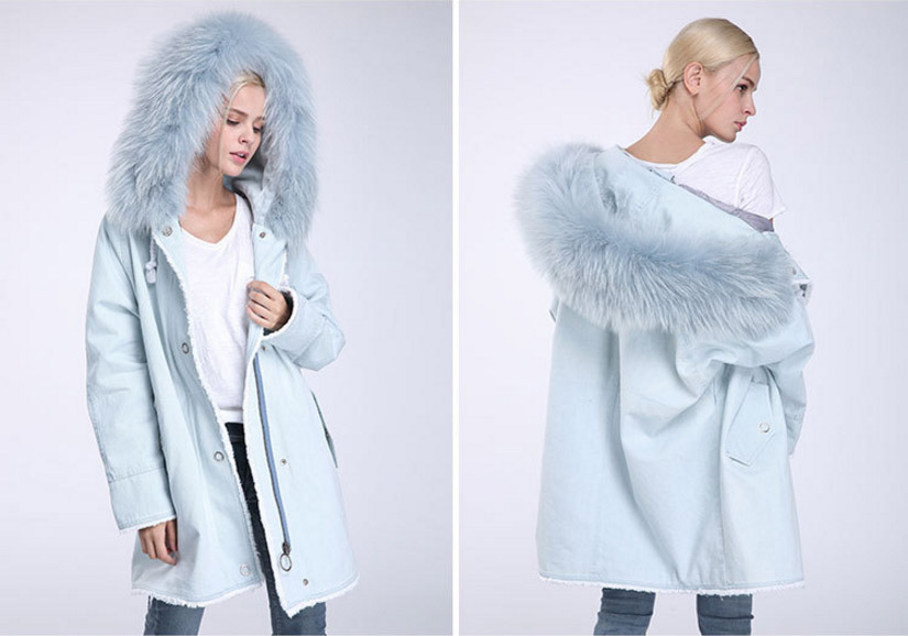 Fox Fur Trimming Hooded Parka with Detachable Rex Rabbit Fur Liner 937 Details 11