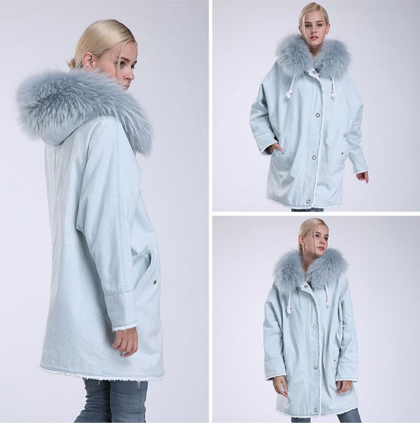 Fox Fur Trimming Hooded Parka with Detachable Rex Rabbit Fur Liner 937 Details 12