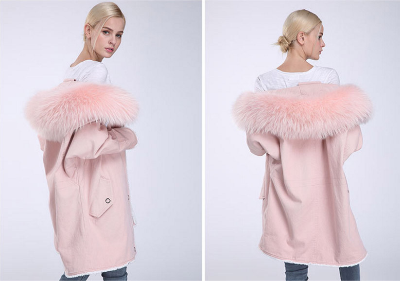 Fox Fur Trimming Hooded Parka with Detachable Rex Rabbit Fur Liner 937 Details 15