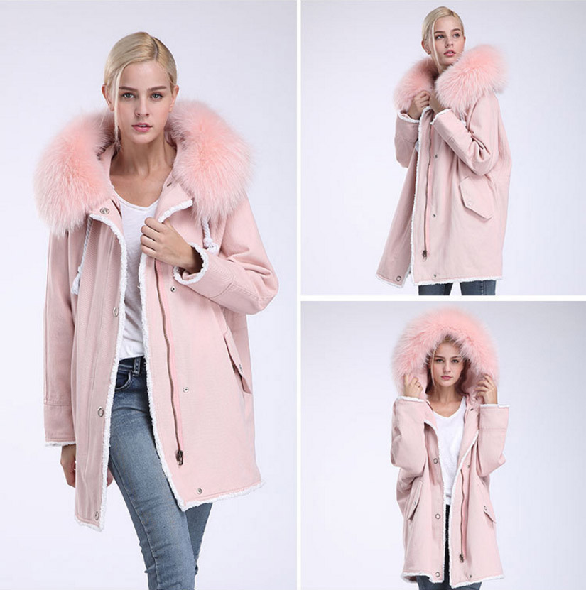 Fox Fur Trimming Hooded Parka with Detachable Rex Rabbit Fur Liner 937 Details 16