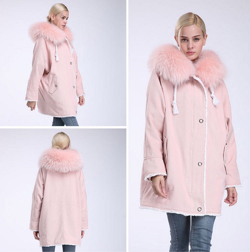 Fox Fur Trimming Hooded Parka with Detachable Rex Rabbit Fur Liner 937 Details 17