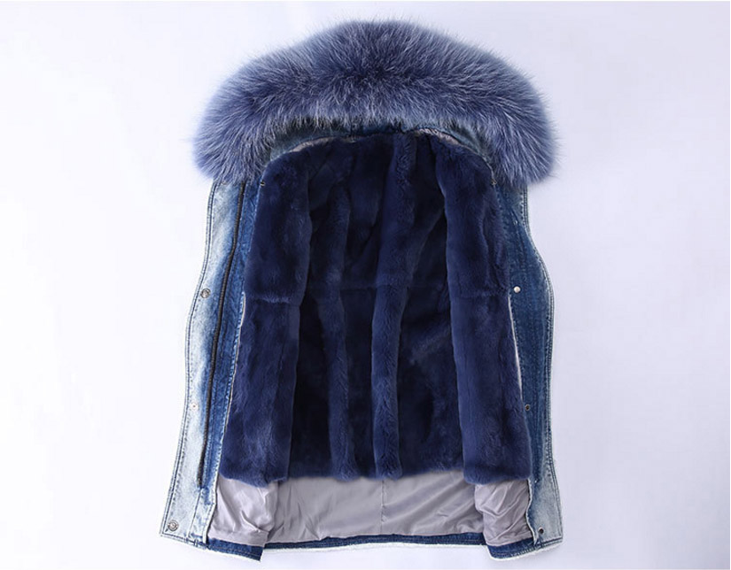 Fox Fur Trimming Hooded Parka with Detachable Rex Rabbit Fur Liner 937 Details 2