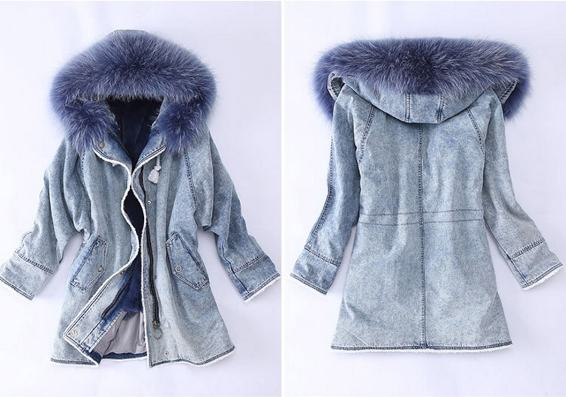 Fox Fur Trimming Hooded Parka with Detachable Rex Rabbit Fur Liner 937 Details 3