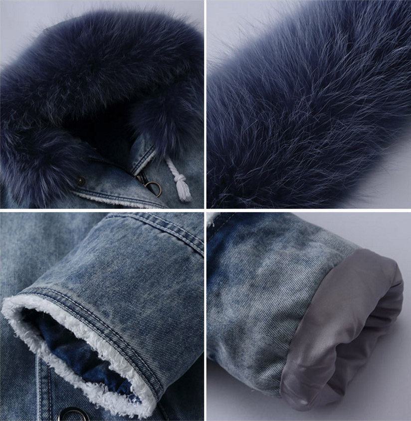 Fox Fur Trimming Hooded Parka with Detachable Rex Rabbit Fur Liner 937 Details 4