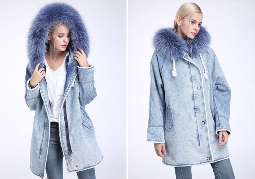 Fox Fur Trimming Hooded Parka with Detachable Rex Rabbit Fur Liner 937 Details 7