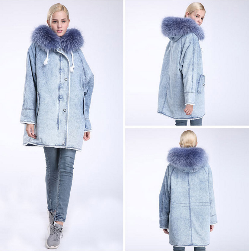 Fox Fur Trimming Hooded Parka with Detachable Rex Rabbit Fur Liner 937 Details 8