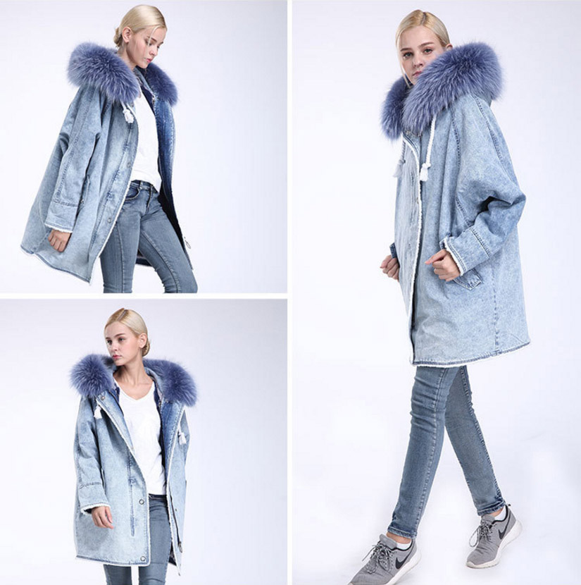 Fox Fur Trimming Hooded Parka with Detachable Rex Rabbit Fur Liner 937 Details 9