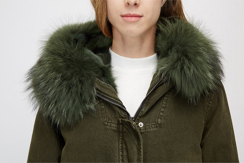 Raccoon Fur Trimmed Hooded Parka with Detachable Fox Fur Liner 938 Details 10