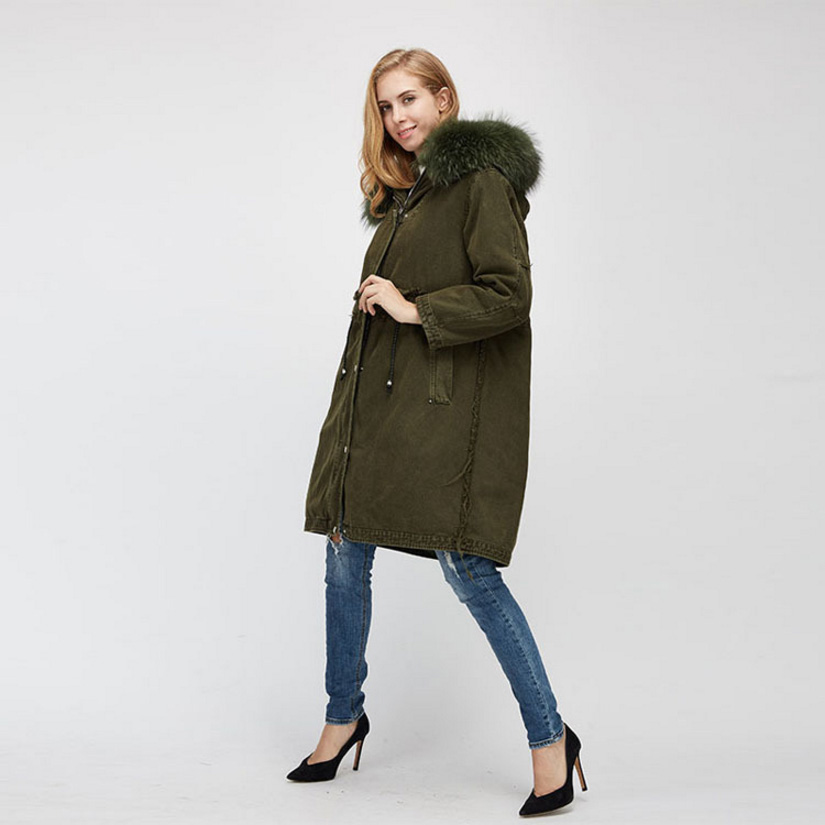 Raccoon Fur Trimmed Hooded Parka with Detachable Fox Fur Liner 938 Details 3
