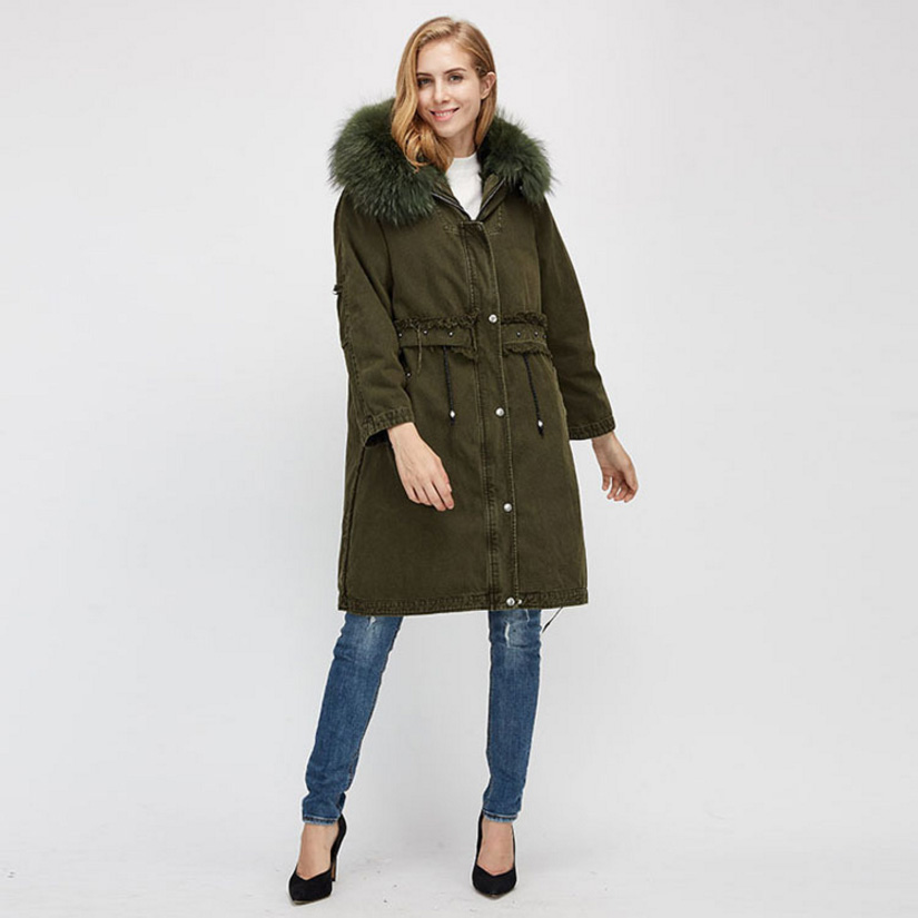 Raccoon Fur Trimmed Hooded Parka with Detachable Fox Fur Liner 938 Details 5