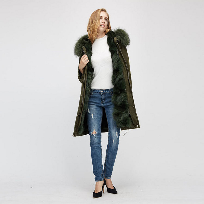 Raccoon Fur Trimmed Hooded Parka with Detachable Fox Fur Liner 938 Details 6