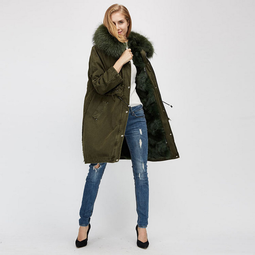 Raccoon Fur Trimmed Hooded Parka with Detachable Fox Fur Liner 938 Details 7