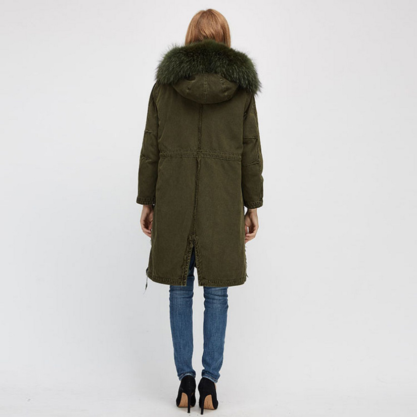 Raccoon Fur Trimmed Hooded Parka with Detachable Fox Fur Liner 938 Details 8