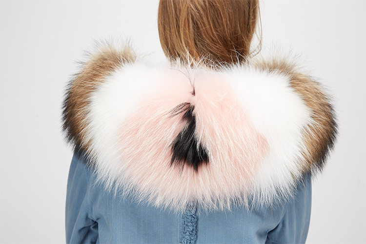 Raccoon Fur Trimming Hooded Parka with Detachable Rex Rabbit Fur Liner 939 Details 10