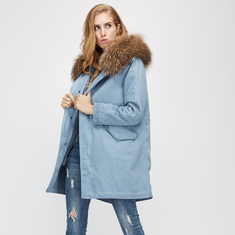 Raccoon Fur Trimming Hooded Parka with Detachable Rex Rabbit Fur Liner 939 Details 4