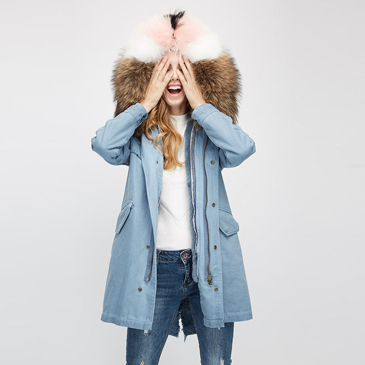 Raccoon Fur Trimming Hooded Parka with Detachable Rex Rabbit Fur Liner 939 Details 6