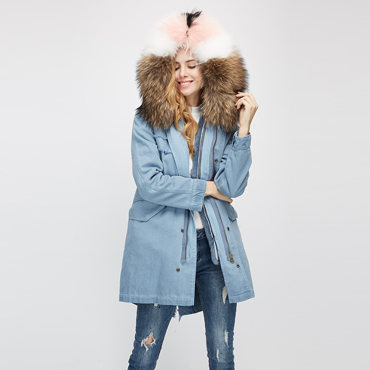 Raccoon Fur Trimming Hooded Parka with Detachable Rex Rabbit Fur Liner 939 Details 7