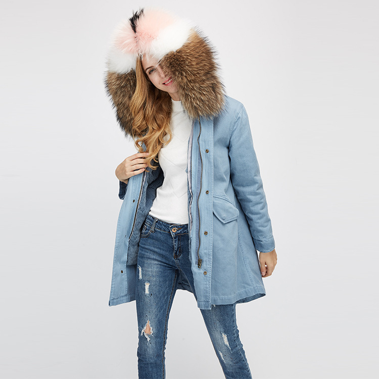 Raccoon Fur Trimming Hooded Parka with Detachable Rex Rabbit Fur Liner 939 Details 8