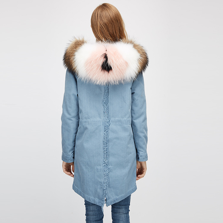 Raccoon Fur Trimming Hooded Parka with Detachable Rex Rabbit Fur Liner 939 Details 9