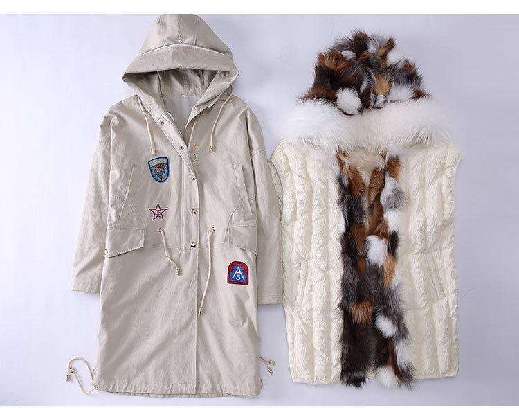 Fox Fur Trimmed Hooded Parka with Detachable Down-filled Liner 840 Details 1