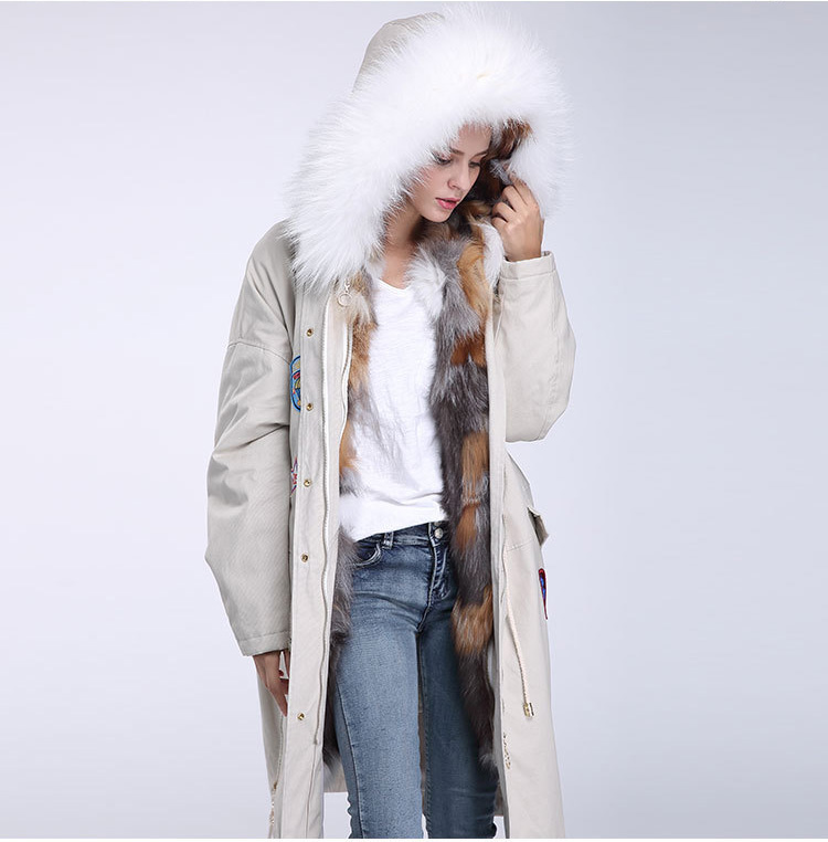 Fox Fur Trimmed Hooded Parka with Detachable Down-filled Liner 840 Details 5
