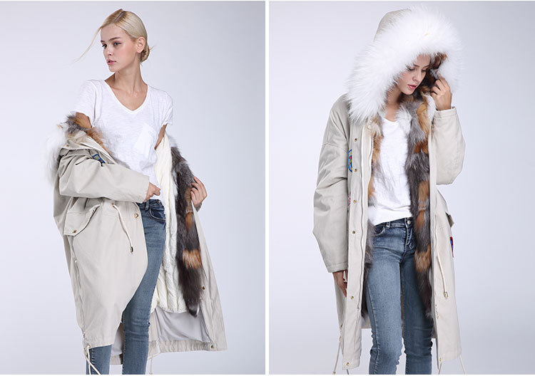 Fox Fur Trimmed Hooded Parka with Detachable Down-filled Liner 840 Details 6